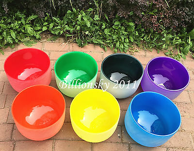 Chakra Tuned Set of 7 Frosted Colored Quartz Crystal Singing Bowls --All 8 inch
