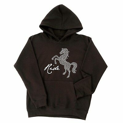 Carrots Sparkle Rearing Horse Hoody Sweat Shirt  Black Age 7-8