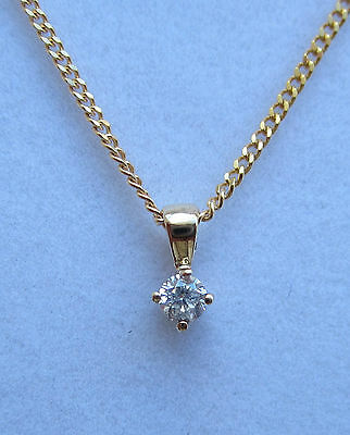 New .10ct Diamond Solitaire 9ct Yellow Gold Pendant & 18 inch Chain. £99.99