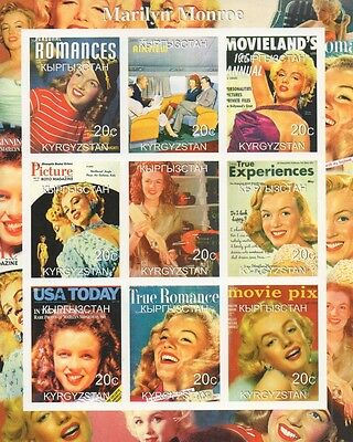 Marilyn Monroe Magazine Covers Kyrgyzstan 2000 Imperforated Mnh Stamp Sheetlet