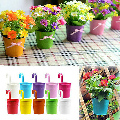 1~10X Metal Iron Hanging Balcony Garden Plant Planter Flower Pot Home Decor RMAU