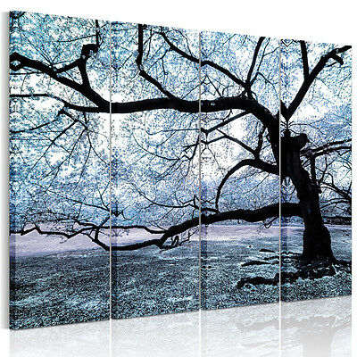 4 Piece Large Gray Big Tree Unframed HD Canvas Print Wall Art Poster Home Décor