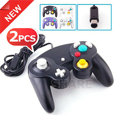 New 2x DualShock Gamepad Joypad Game Controller for PC XBOX Nintendo Wii Black