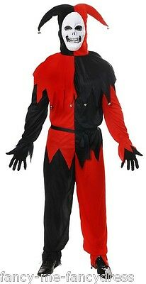 Mens Evil Court Jester Clown Harlequin Halloween Fancy Dress Costume Outfit