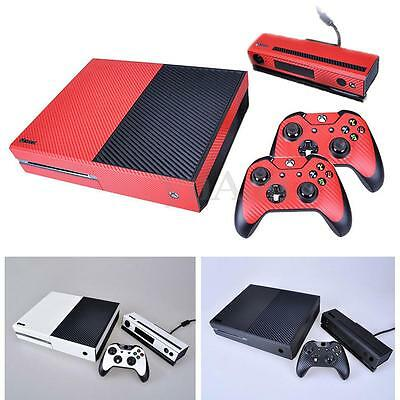 Carbon Fiber Cover Skin Decal Sticker Set For Xbox One + Kinect + 2 Controller
