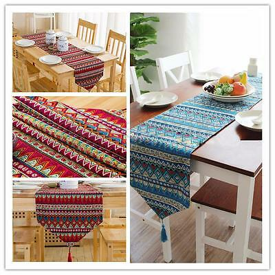Vintage Table Runner Tassel Washable Tablecloth Birthday Table Cloth Party Decor