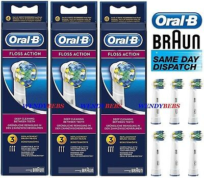 Genuine Braun Oral B Floss Action Toothbrush Replacement Refill Heads Eb25-4-3 A