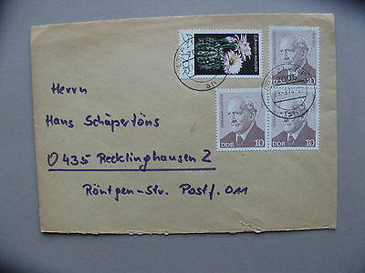GERMANY DDR, cover 1974, ao stamp cactus flower