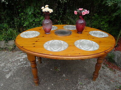Large Country Golden Pine Oval Farmhouse Dining Kitchen Table