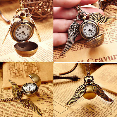 Pendant Necklace Steampunk Quidditch Wings Harry Potter Snitch Pocket Watch CGYG