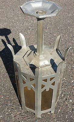 Antique Heavy 8 panel  Slag Glass Hanging Church light fixture Gothic Design