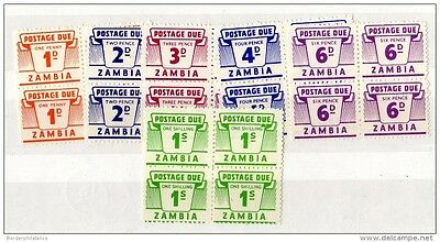 Zambia Postage Dues Blocks of 4 to 1/- Mint MNH X3298