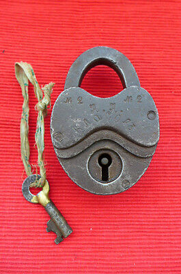 Antique Padlock with one key, working order.