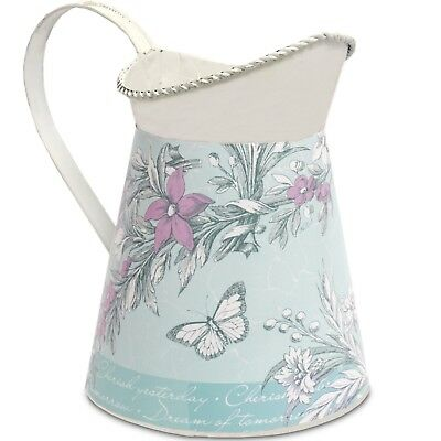 White blue and pink floral jug with butterfly design.