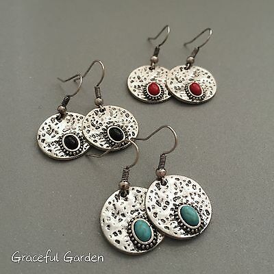 ER3024 Graceful Garden Vintage Style Antique Silver Tone Small Charm Earrings