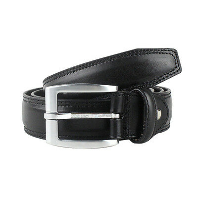 Men's Big & Tall Genuine Leather Belts Black Casual Dress Sizes 42-56