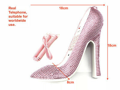 moonstone AB pink  crystal pink shoe design home phone for home/office and gift