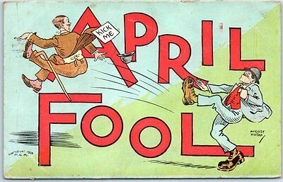1909 APRIL FOOL Large Letter Greetings Comic Postcard PCK SERIES w/ 1909 Cancel