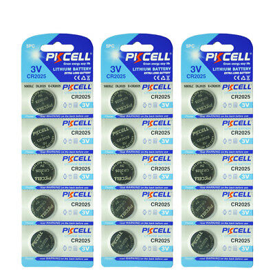 15x PKCELL CR2025 ECR2025 CR 2025 3V Lithium Button Coin Cell Battery Batteries