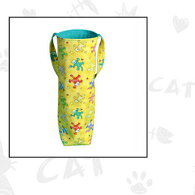 Crazy Cats Wine Bottle Tote Bag Handmade
