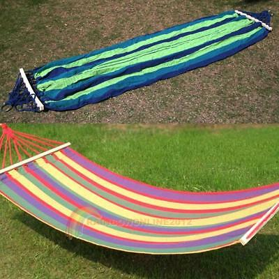 Canvas Fabric Double Spreader Bar Hammock Outdoor Camping Swing Hanging Bed New