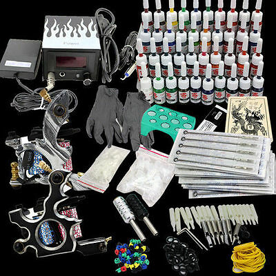 Neu Tätowierung Tattoo Kit Komplett 2 Tattoo maschine 40 Tattoo Farben/Inks