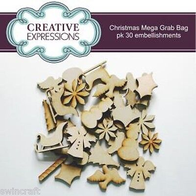 Creative Expressions MDF Shapes CHRISTMAS GRAB BAG 30 EMBELLISHMENTS Reduced