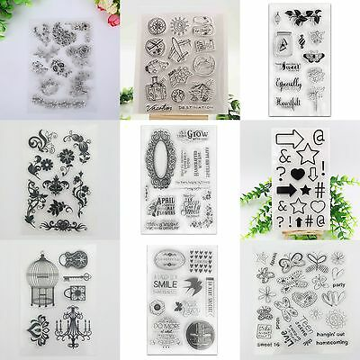 DIY Transparent Silicone Rubber Clear Stamp Sheet Cling Seal Scrapbooking Flower