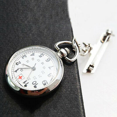 Large Face Nurses Pocket Fob Watch on a Bar with a Brooch Back Silver Color GT