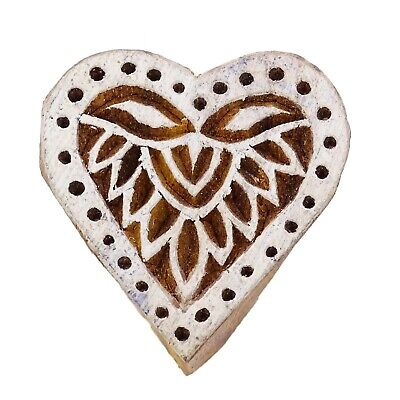 Indian Wood Decorative Handcarved Heart Wooden Textile Stamp Printing Block