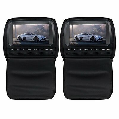 "Pair 2× 9""inch HD Digital Screen Car Pillow Headrest DVD Player Monitor"