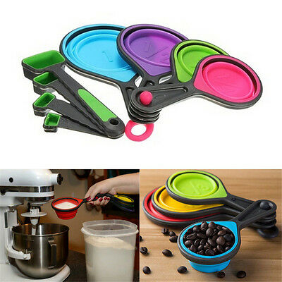 Safe Silicone Measuring Cups Spoon Kitchen Tool Collapsible Baking Cook FT