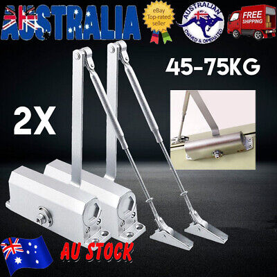 2X Adjustable Automatic Fire Rated Hold Open Silver Door Closer Suits 60-80Kg AU