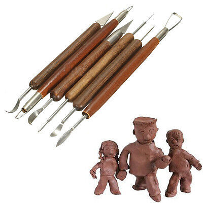 DIY 6pcs Clay Sculpting Set Wax Carving Pottery Tools Shapers Polymer Modeling