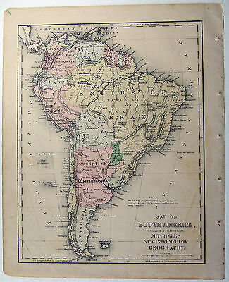 Original 1871 Mitchell's Hand Colored Copper-Plate Map of South America