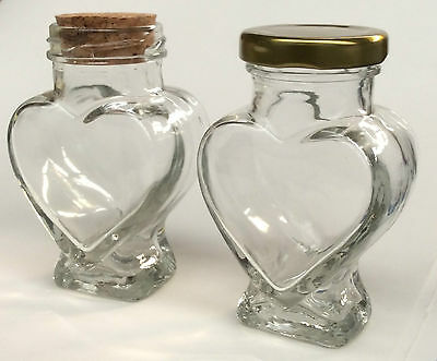 Heart Shaped Glass Jam Jar - 100Ml- Cork, Gold, Or Silver Lids - From £0.60 Each
