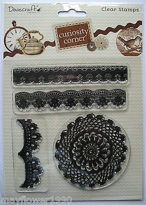 Dovecraft Curiosity Corner Clear Rubber  Stamp Set LACE DOILY & BORDERS x 4