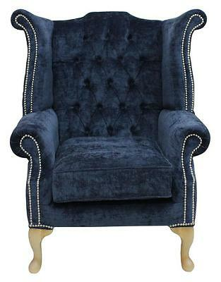 Chesterfield Armchair Queen Anne High Back Wing Chair Velluto Oxford Blue LL SS