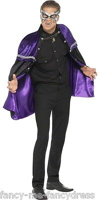 Mens Ladies Regal Vampire Purple Black Halloween Cape Cloak Fancy Dress Costume
