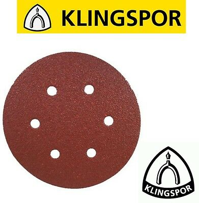 150mm Sanding Discs Sandpaper KLINGSPOR Hook & Loop PS22K 6-hole Wood & Metal