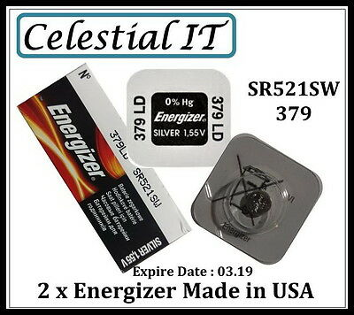 2x ENERGIZER 379 SR521SW 1.55V SILVER OXIDE BUTTON CELL BATTERY SINGLE PACK
