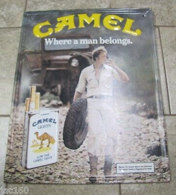 """Vintage CAMEL CIGARETTES """"WHERE A MAN BELONGS"""" Tobacco Advertising Sign"""