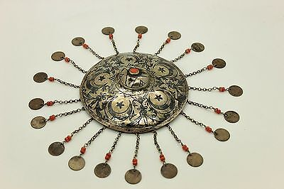 Antique Original Perfect Silver Ottoman Islamic Silver Niello Bridal Head Piece