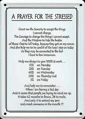 A Prayer For The Stressed mini metal sign / postcard  110mm x 80mm (hi)