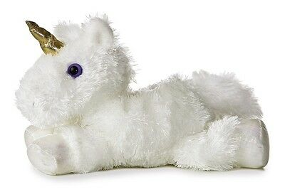 "Mini Flopsies /Flopsie Unicorn White 8"" Plush Cuddly Soft Toy Teddy by AURORA"