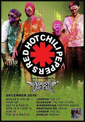RED HOT CHILI PEPPERS The Getaway 2016 UK Tour PHOTO Print POSTER Baby Metal 022