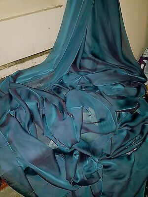 "5M Cationic  Two Tone Lilac Teal Blue Soft  Dress Chiffon Fabric 58"" Wide"