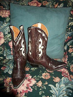 Women's Amazing Vintage Justin Inlay Cowboy Boots Size 10 B