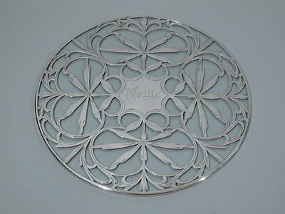 Antique Trivet - Circular Floral Flowers - American Clear Glass & Silver Overlay