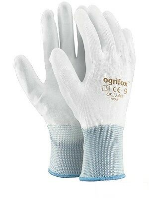 PU COATED WHITE SAFETY WORK GLOVES  MENS BUILDERS GARDENING from 6 to 24 pairs